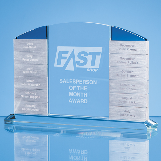 Annual-Monthly Engraved Crystal Corporate Award
