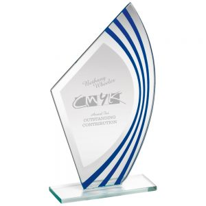 Blue & Silver Stripe Glass Award