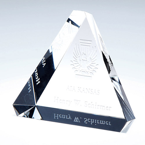 Personalised Engraved Glass Triangle Crystal Paperweight  (Copy)