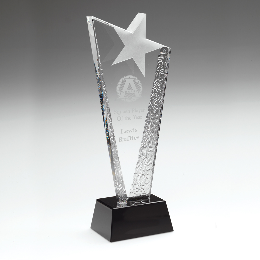 Engraved Crystal Frosted Star Corporate Award