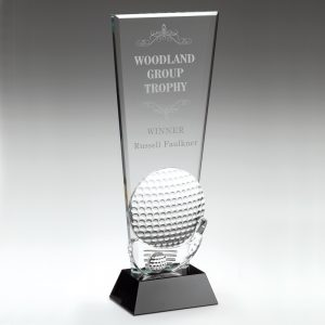 Black/Clear Glass Golf Ball Trophy