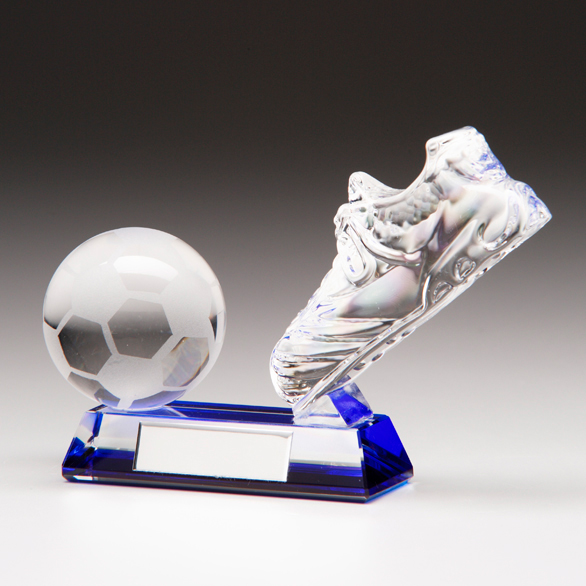 3D Mounted Glass Football Trophy