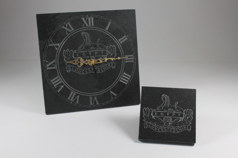 Engraved Slate Wall Clock