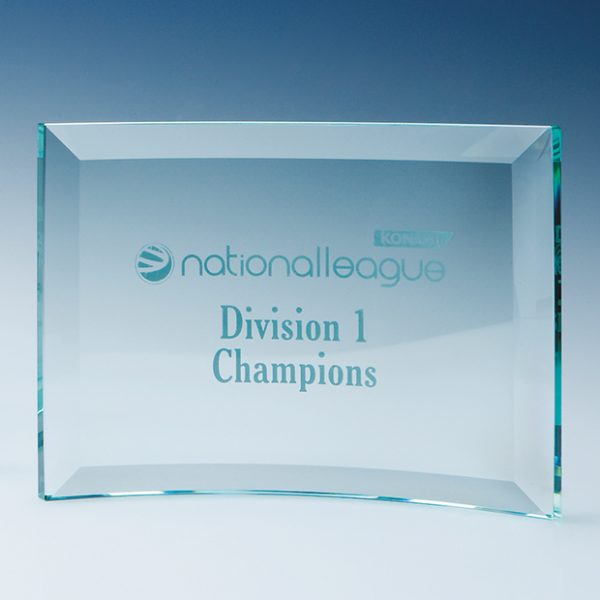 Jade Glass Bevelled Crescent Plaque Award
