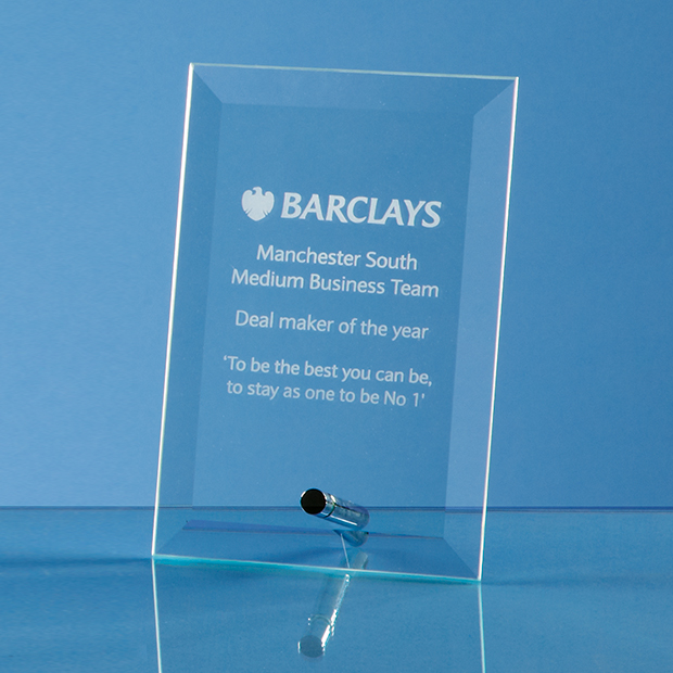 Bevelled Glass Rectangle Plaque with Chrome Pin