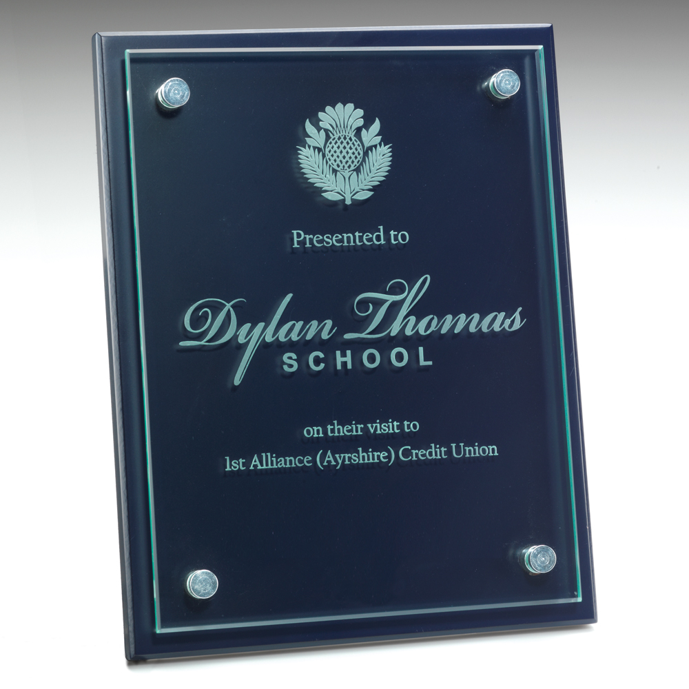 Engraved Glass/Wood Wall Plaque