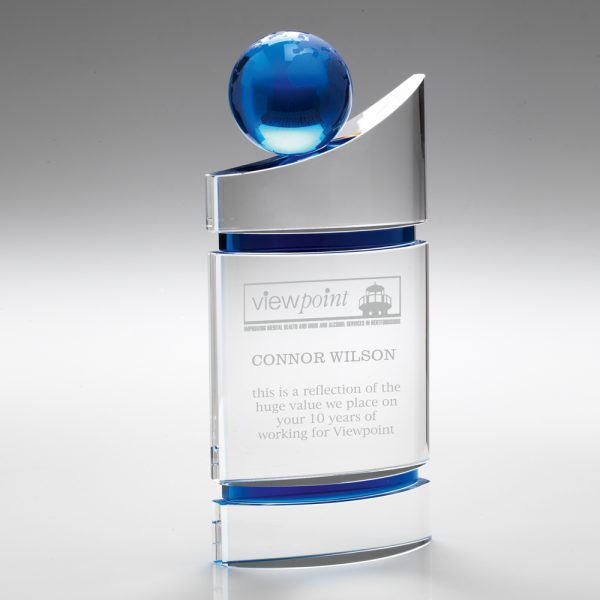 Engraved Crystal Corporate Award Blue Sphere