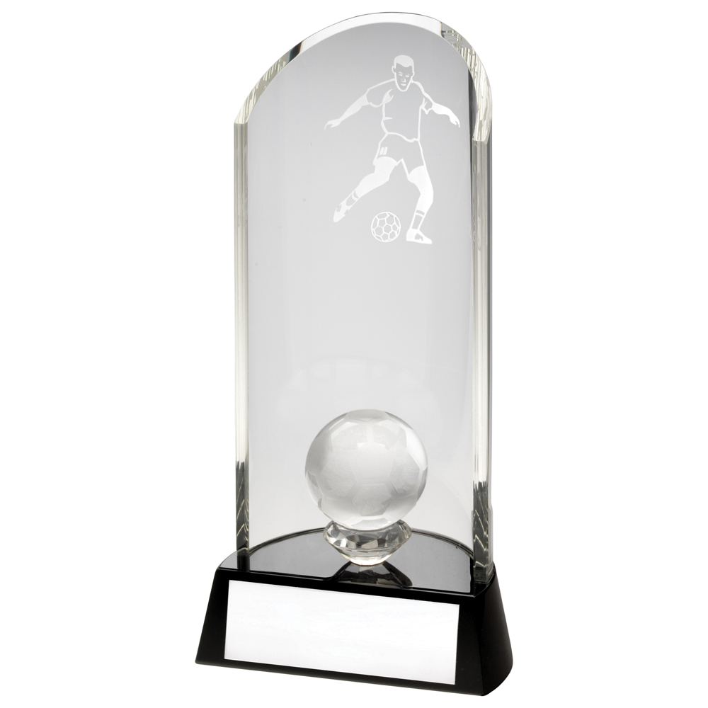 Mounted Glass Football Trophy