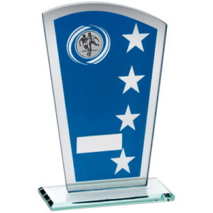 Football Trophy Blue & Silver Glass