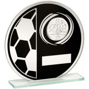 Black & Silver Glass Football Trophy