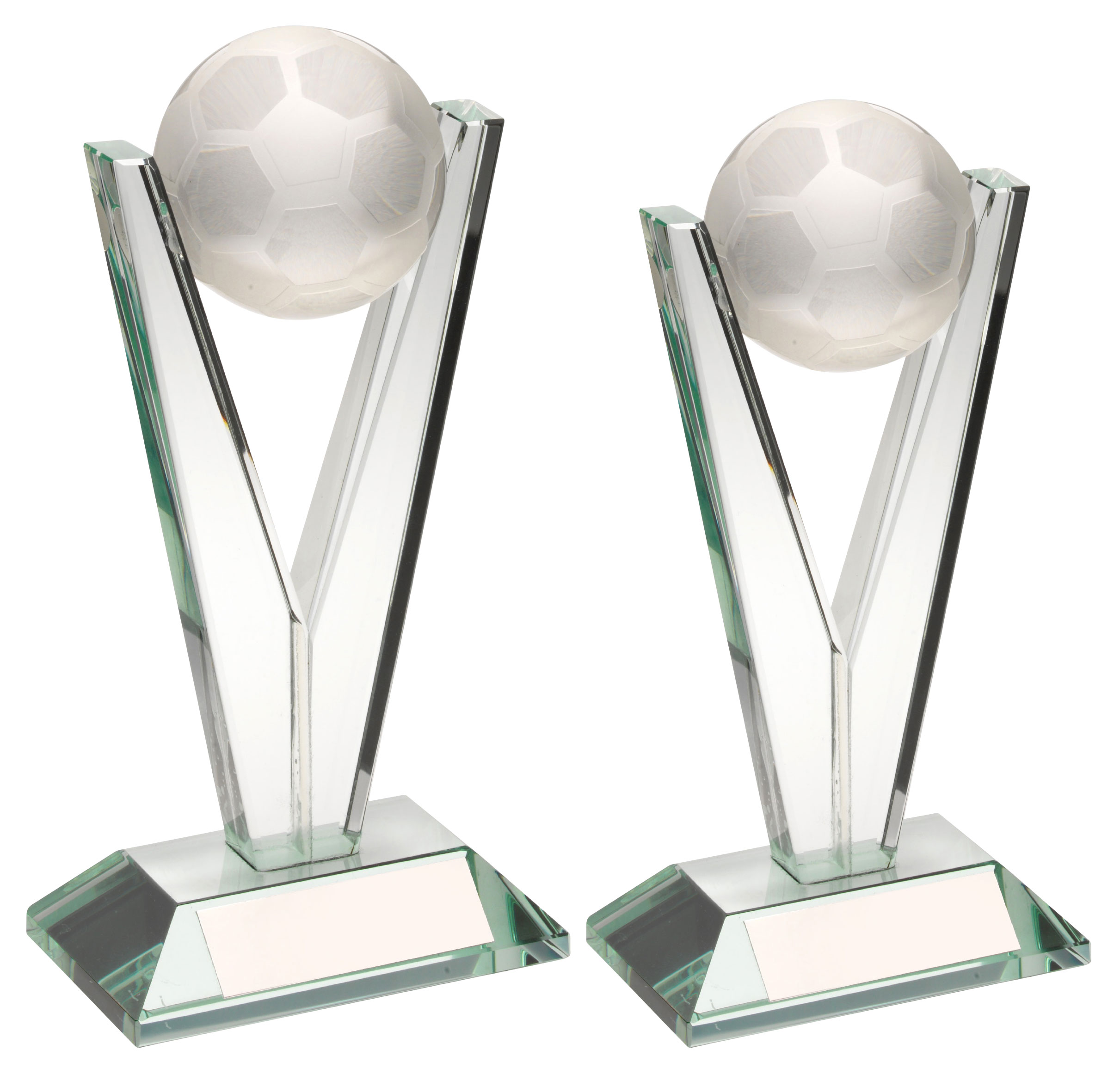 Clear Glass Football Trophy