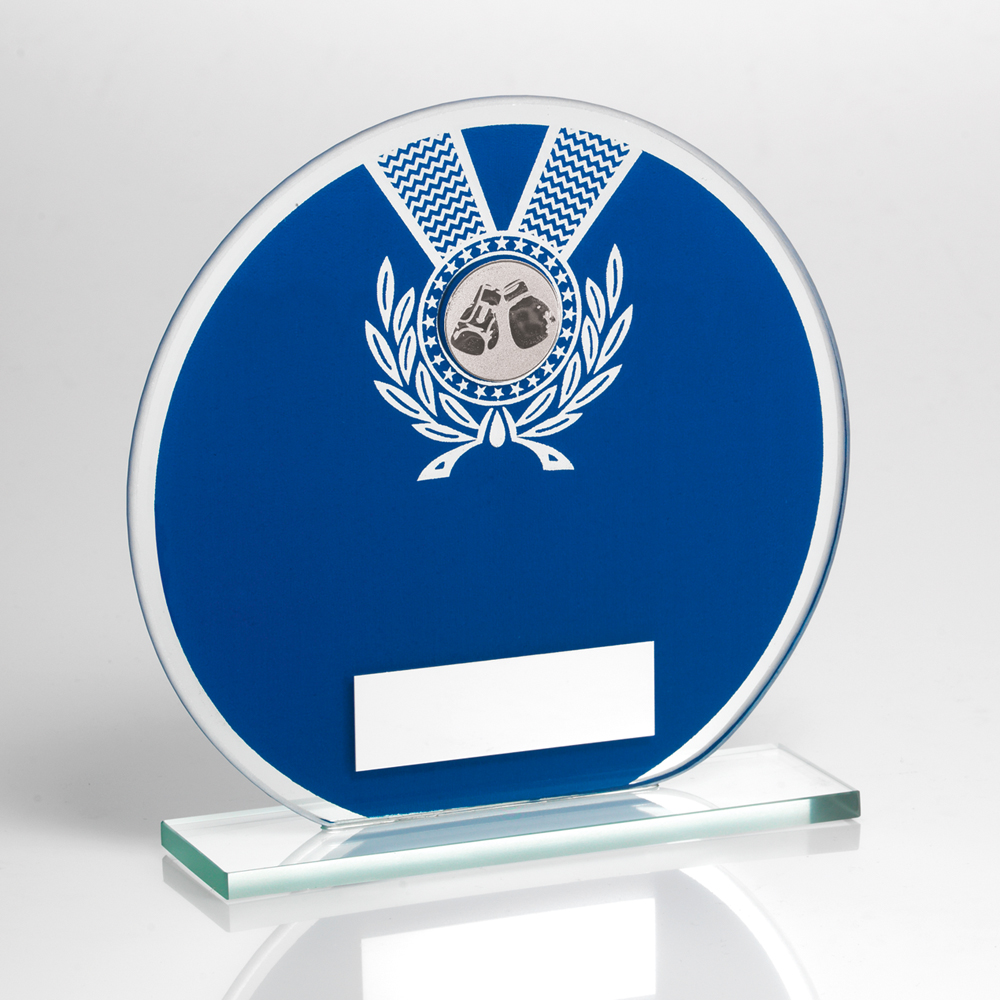 Blue Glass Boxing Trophy