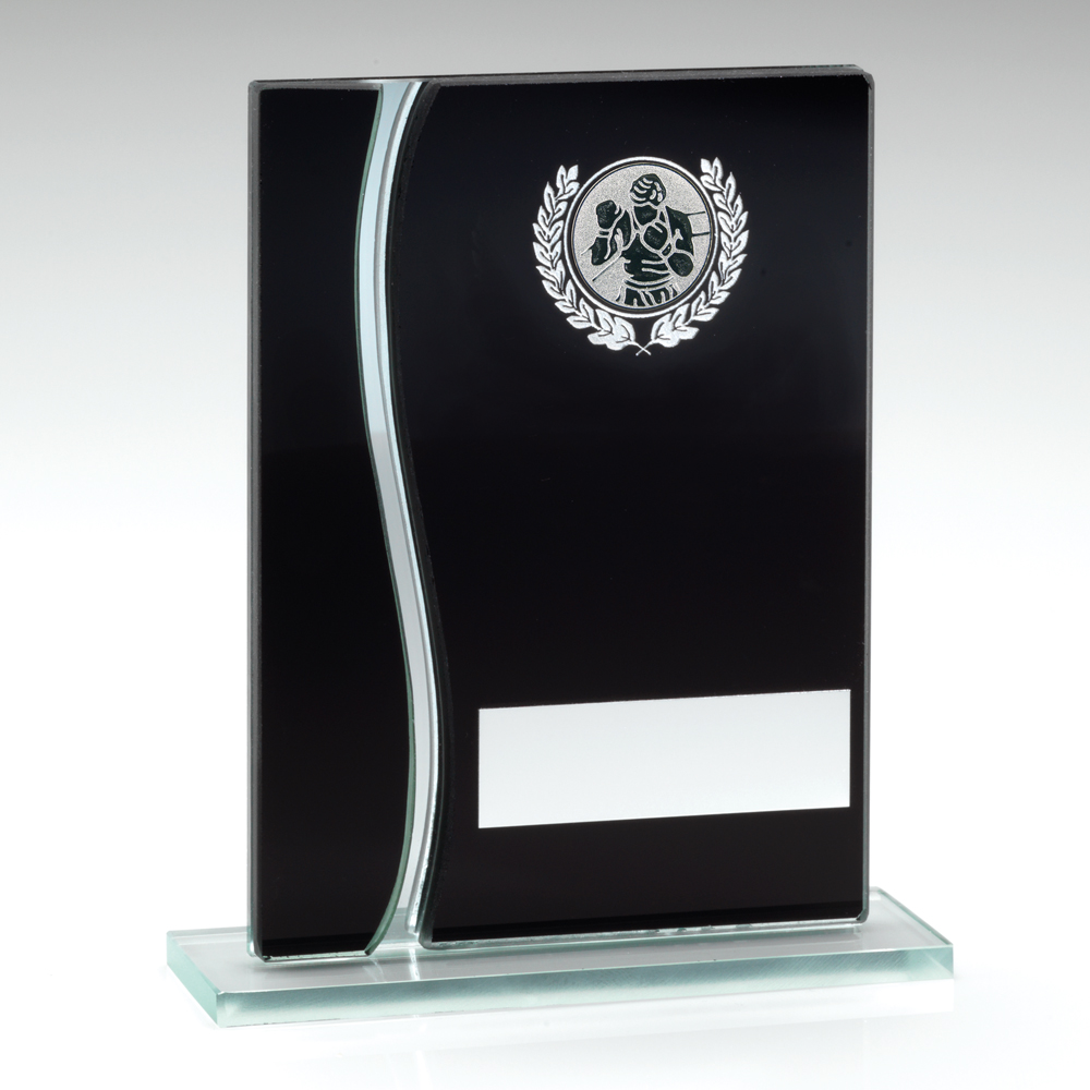 Black & Silver Glass Boxing Trophy