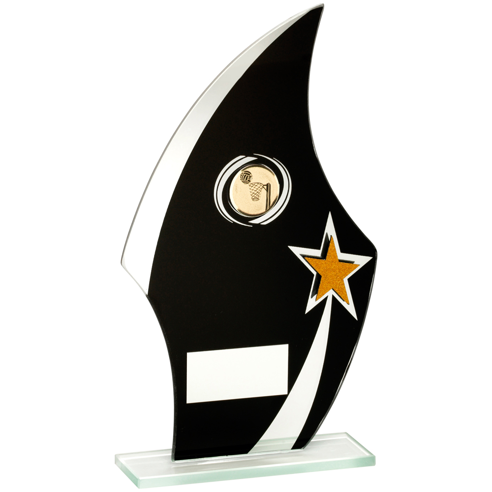 Black/Gold/Silver Glass Netball Trophy