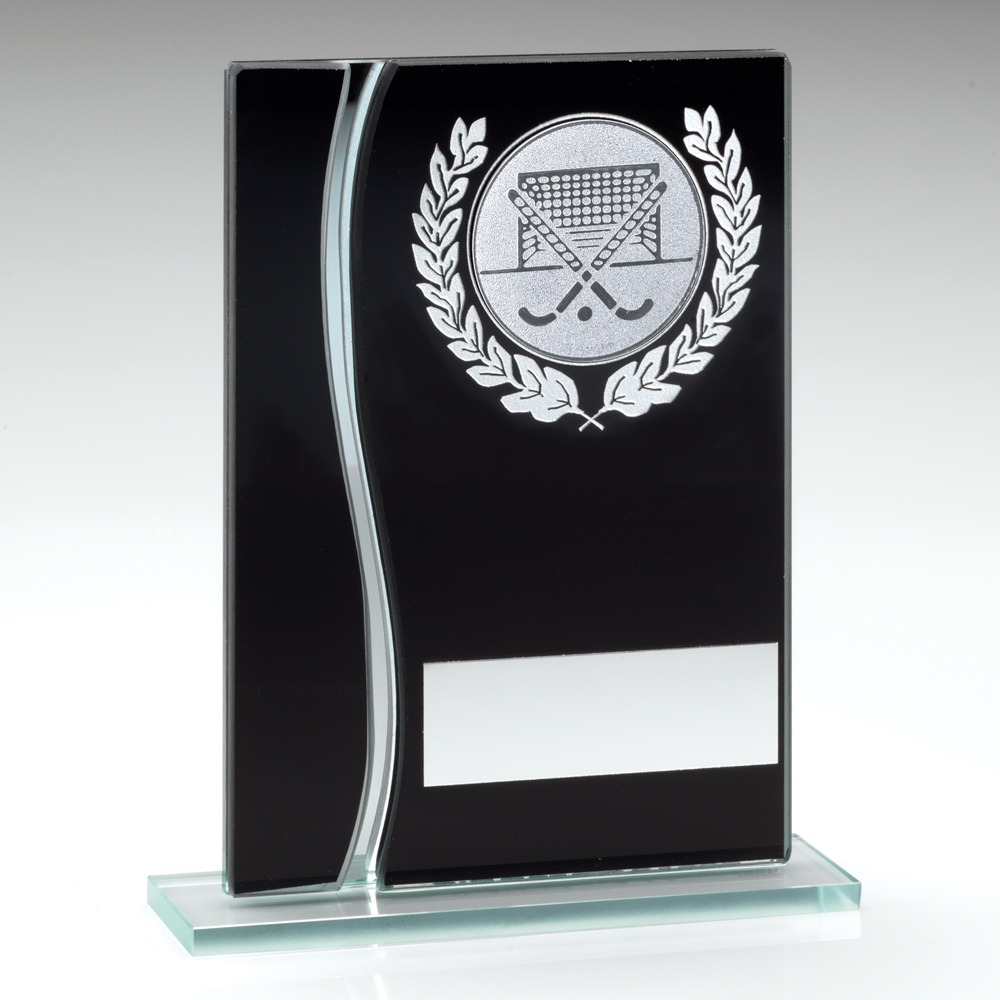 Black & Silver Glass Hockey Trophy