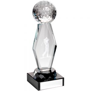 3D Glass Golf Trophy Clear & Black