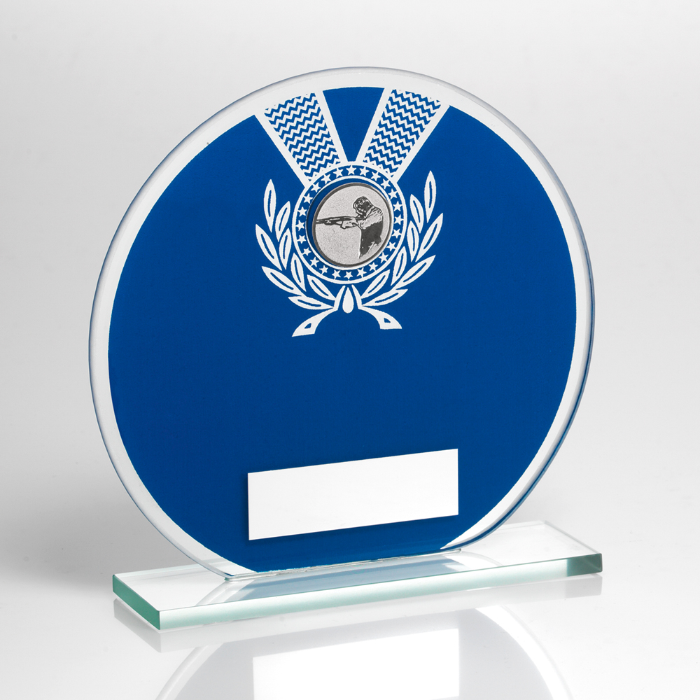 Blue & Silver Glass Shooting Trophy