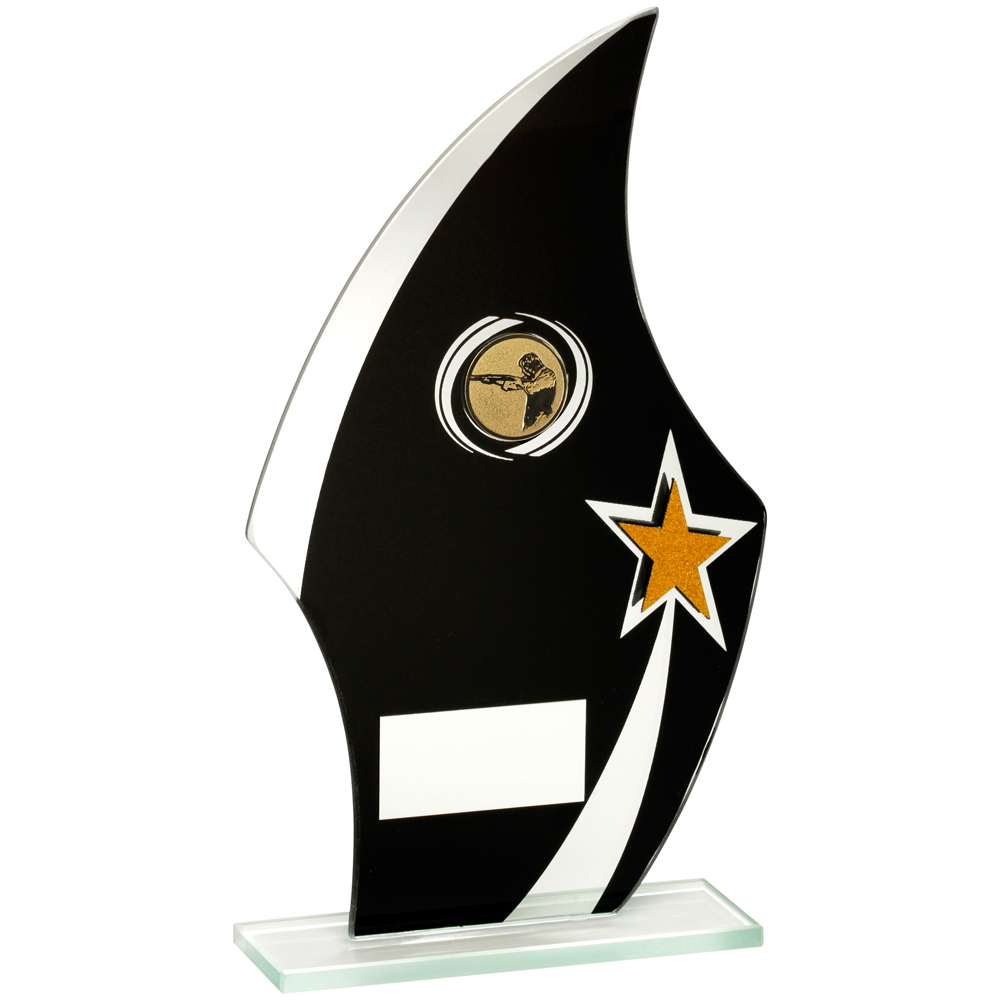 Black/Gold/Silver Glass Shooting Trophy
