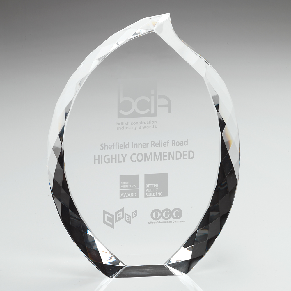 Engraved Crystal Flame Corporate Award