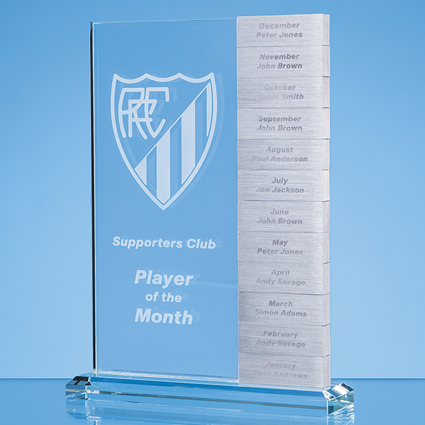 Annual-Monthly Engraved Rectangle Crystal Corporate Award
