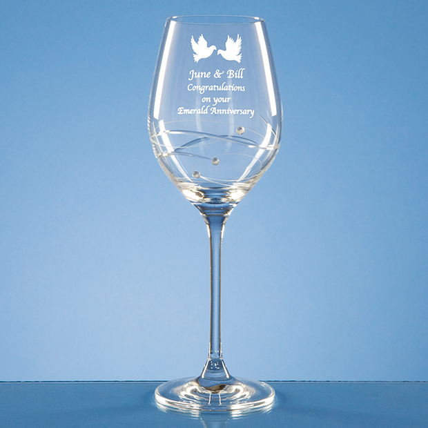 Engraved Champagne Flute Clear Glass Diamante