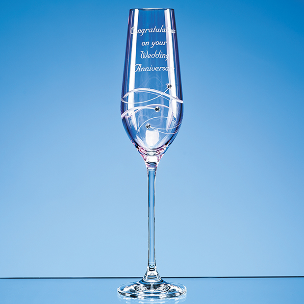 Pink Diamante Engraved Wine Glass