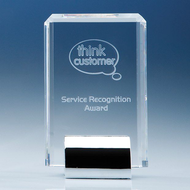 Rectangle Corporate Award on a Chrome Stand