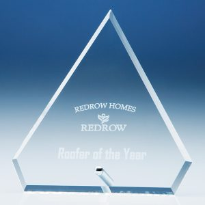 Diamond Glass Plaque with Chrome Pin Award