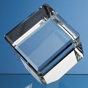Bevel Edged Crystal Cube