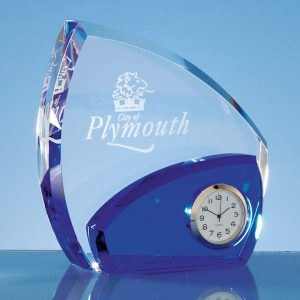 Optical Crystal Clear and Sapphire Blue Clock