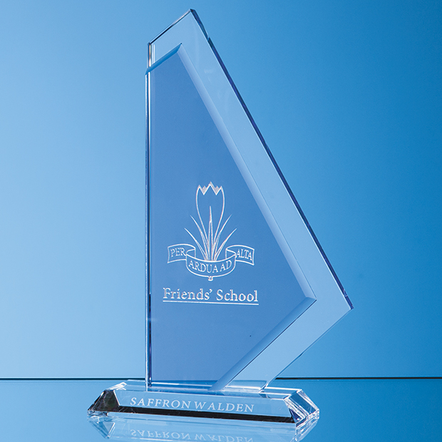 Sailing Trophy Clear & Cobalt Blue