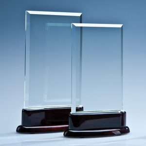 Crystal Rectangle & Rosewood Piano Finish Base Corporate Award